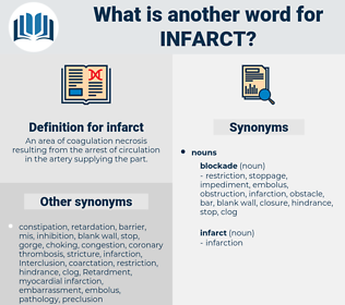 infarct, synonym infarct, another word for infarct, words like infarct, thesaurus infarct