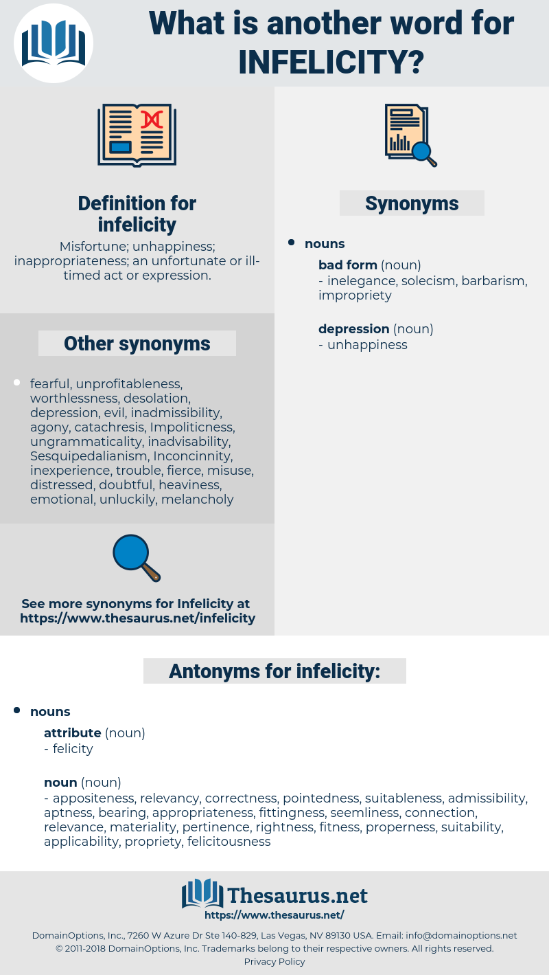 infelicity, synonym infelicity, another word for infelicity, words like infelicity, thesaurus infelicity