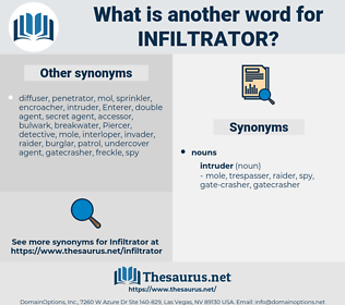 infiltrator, synonym infiltrator, another word for infiltrator, words like infiltrator, thesaurus infiltrator