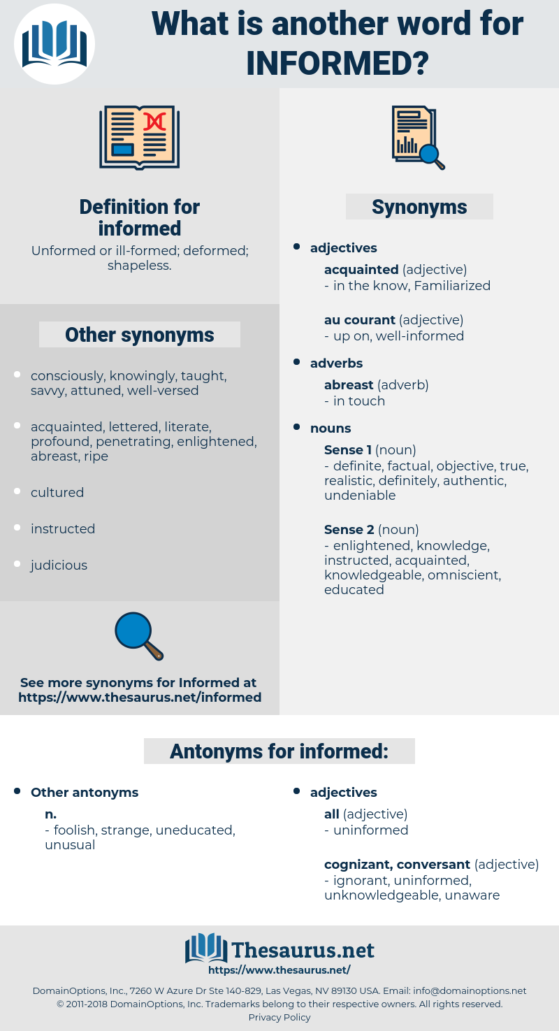 informed, synonym informed, another word for informed, words like informed, thesaurus informed