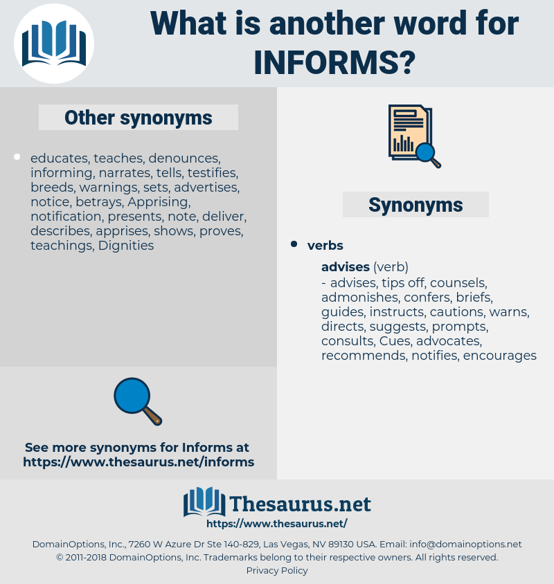 informs, synonym informs, another word for informs, words like informs, thesaurus informs