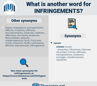 infringements, synonym infringements, another word for infringements, words like infringements, thesaurus infringements