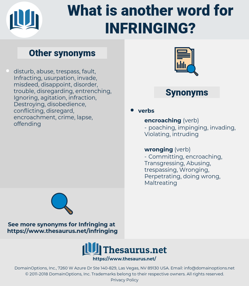 Infringing, synonym Infringing, another word for Infringing, words like Infringing, thesaurus Infringing