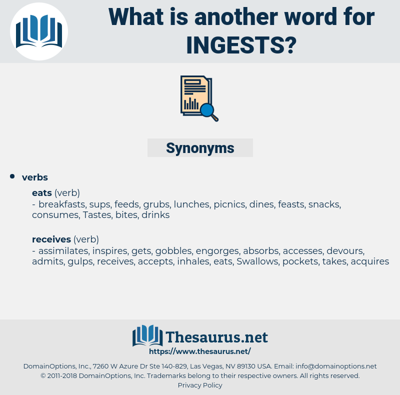 ingests, synonym ingests, another word for ingests, words like ingests, thesaurus ingests