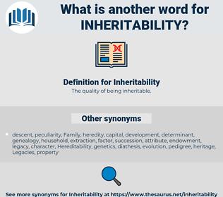 Inheritability, synonym Inheritability, another word for Inheritability, words like Inheritability, thesaurus Inheritability