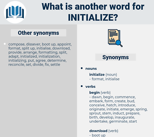 initialize, synonym initialize, another word for initialize, words like initialize, thesaurus initialize