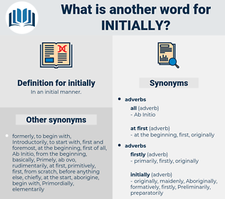 initially, synonym initially, another word for initially, words like initially, thesaurus initially