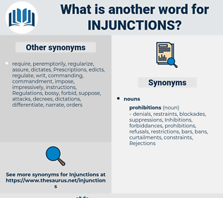 injunctions, synonym injunctions, another word for injunctions, words like injunctions, thesaurus injunctions