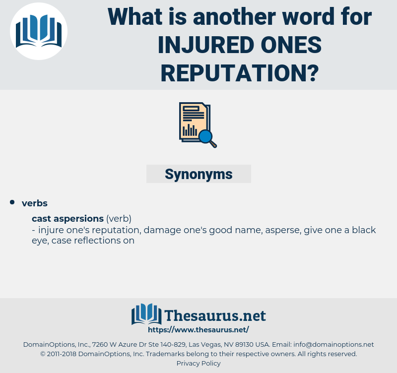 injured ones reputation, synonym injured ones reputation, another word for injured ones reputation, words like injured ones reputation, thesaurus injured ones reputation