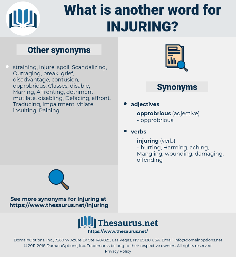 Injuring, synonym Injuring, another word for Injuring, words like Injuring, thesaurus Injuring