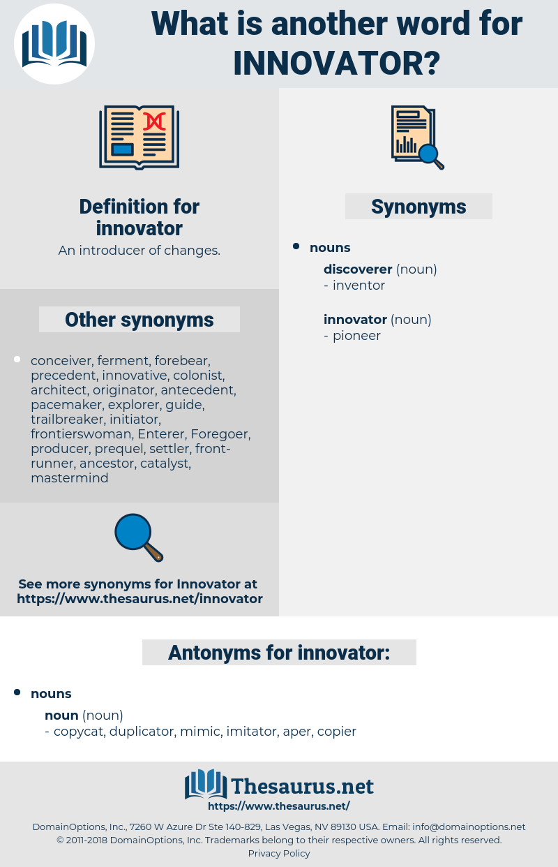 innovator, synonym innovator, another word for innovator, words like innovator, thesaurus innovator