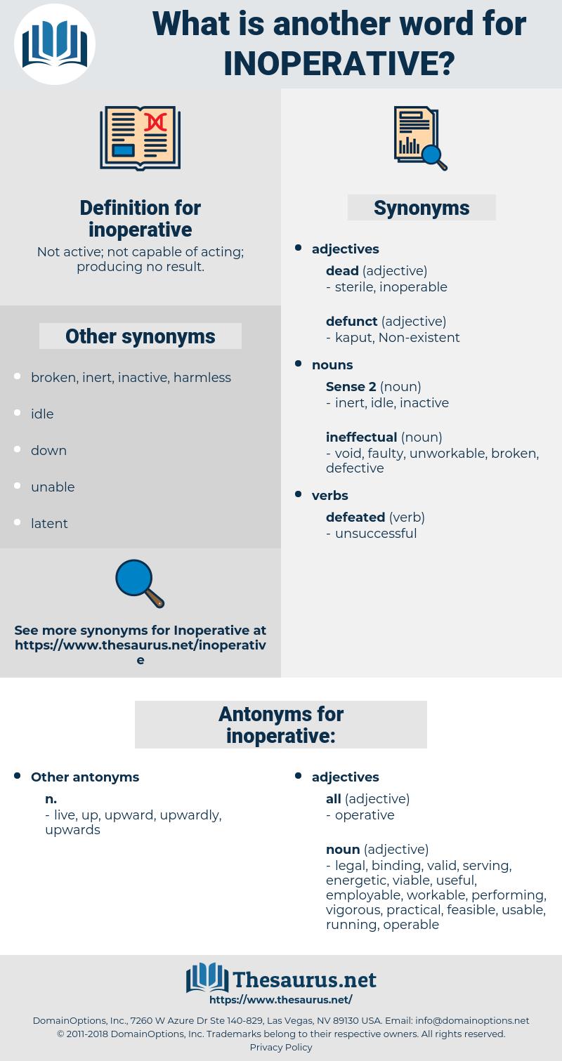 inoperative, synonym inoperative, another word for inoperative, words like inoperative, thesaurus inoperative