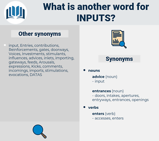 inputs, synonym inputs, another word for inputs, words like inputs, thesaurus inputs