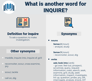 inquire, synonym inquire, another word for inquire, words like inquire, thesaurus inquire