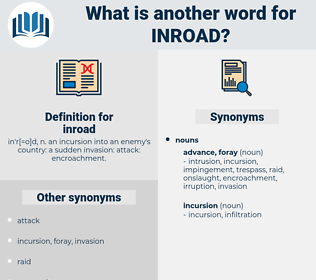 inroad, synonym inroad, another word for inroad, words like inroad, thesaurus inroad