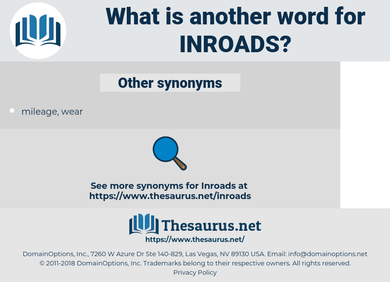 INROADS, synonym INROADS, another word for INROADS, words like INROADS, thesaurus INROADS