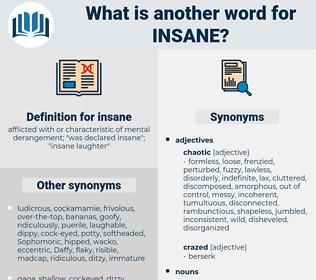 insane, synonym insane, another word for insane, words like insane, thesaurus insane