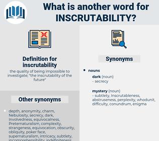 inscrutability, synonym inscrutability, another word for inscrutability, words like inscrutability, thesaurus inscrutability