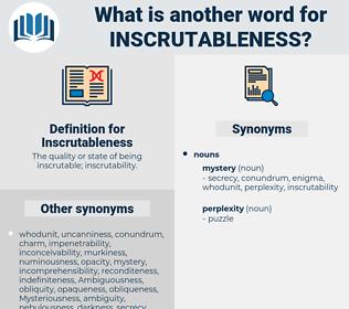 Inscrutableness, synonym Inscrutableness, another word for Inscrutableness, words like Inscrutableness, thesaurus Inscrutableness