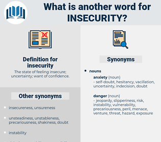 insecurity, synonym insecurity, another word for insecurity, words like insecurity, thesaurus insecurity