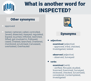 Inspected, synonym Inspected, another word for Inspected, words like Inspected, thesaurus Inspected
