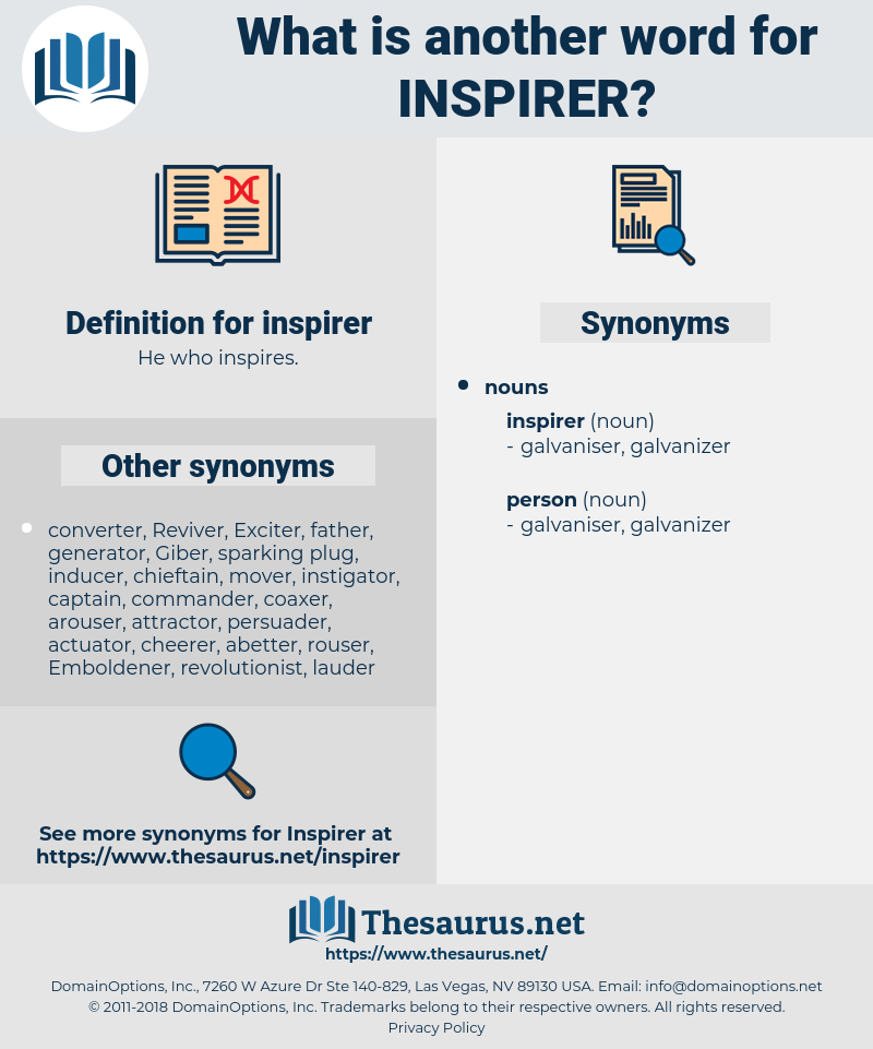 inspirer, synonym inspirer, another word for inspirer, words like inspirer, thesaurus inspirer