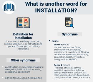 installation, synonym installation, another word for installation, words like installation, thesaurus installation