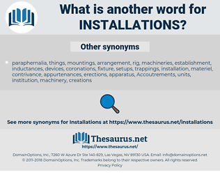 installations, synonym installations, another word for installations, words like installations, thesaurus installations