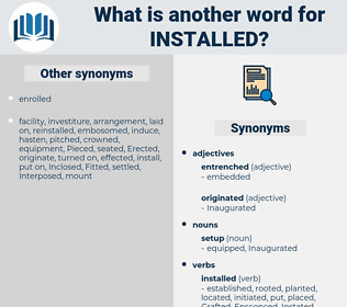 Installed, synonym Installed, another word for Installed, words like Installed, thesaurus Installed