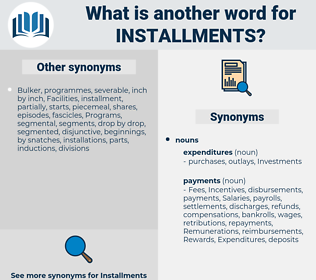installments, synonym installments, another word for installments, words like installments, thesaurus installments