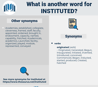 Instituted, synonym Instituted, another word for Instituted, words like Instituted, thesaurus Instituted