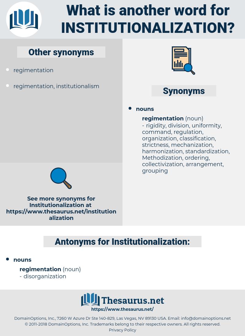 Institutionalization, synonym Institutionalization, another word for Institutionalization, words like Institutionalization, thesaurus Institutionalization