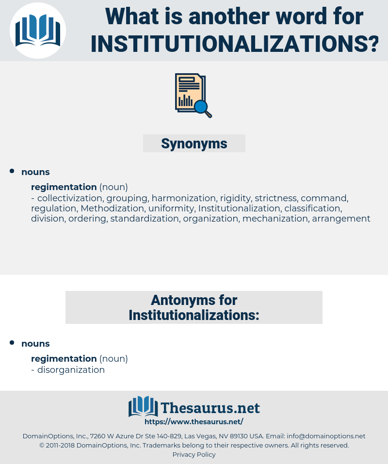 Institutionalizations, synonym Institutionalizations, another word for Institutionalizations, words like Institutionalizations, thesaurus Institutionalizations