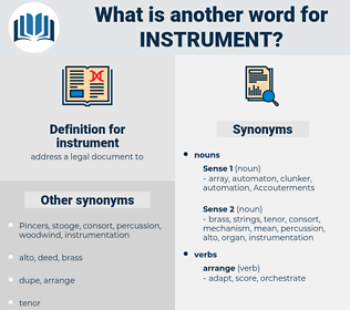 instrument, synonym instrument, another word for instrument, words like instrument, thesaurus instrument