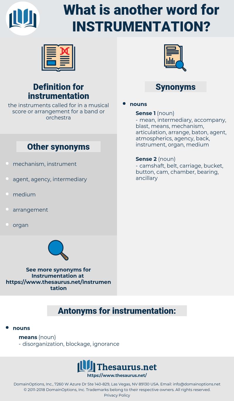 instrumentation, synonym instrumentation, another word for instrumentation, words like instrumentation, thesaurus instrumentation