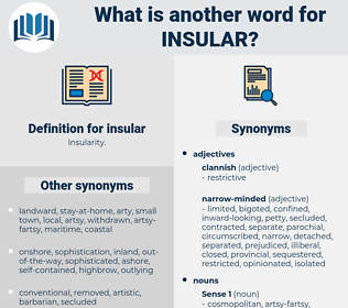 insular, synonym insular, another word for insular, words like insular, thesaurus insular