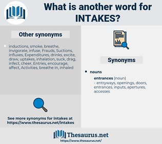 intakes, synonym intakes, another word for intakes, words like intakes, thesaurus intakes