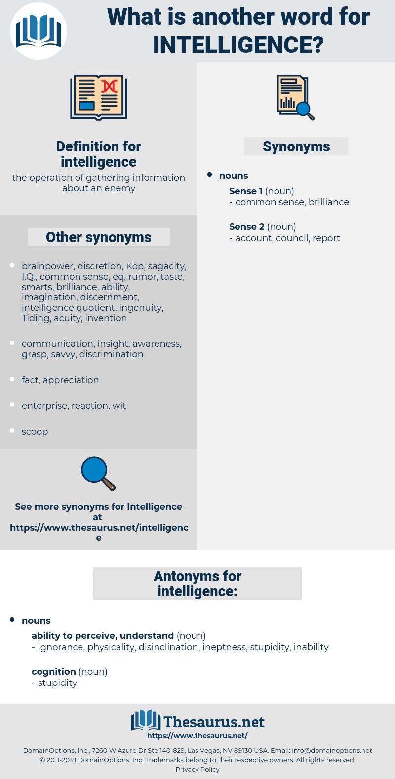 intelligence, synonym intelligence, another word for intelligence, words like intelligence, thesaurus intelligence