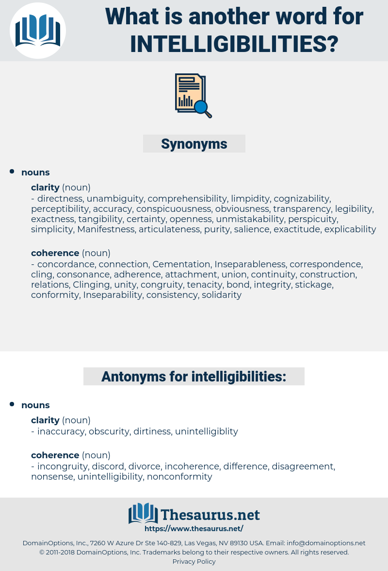 intelligibilities, synonym intelligibilities, another word for intelligibilities, words like intelligibilities, thesaurus intelligibilities