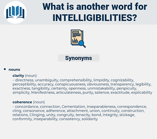 intelligibilities, synonym intelligibilities, another word for intelligibilities, words like intelligibilities, thesaurus intelligibilities