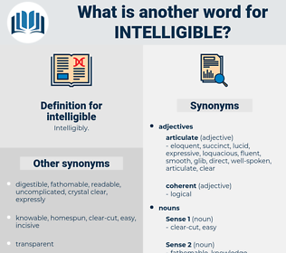 intelligible, synonym intelligible, another word for intelligible, words like intelligible, thesaurus intelligible