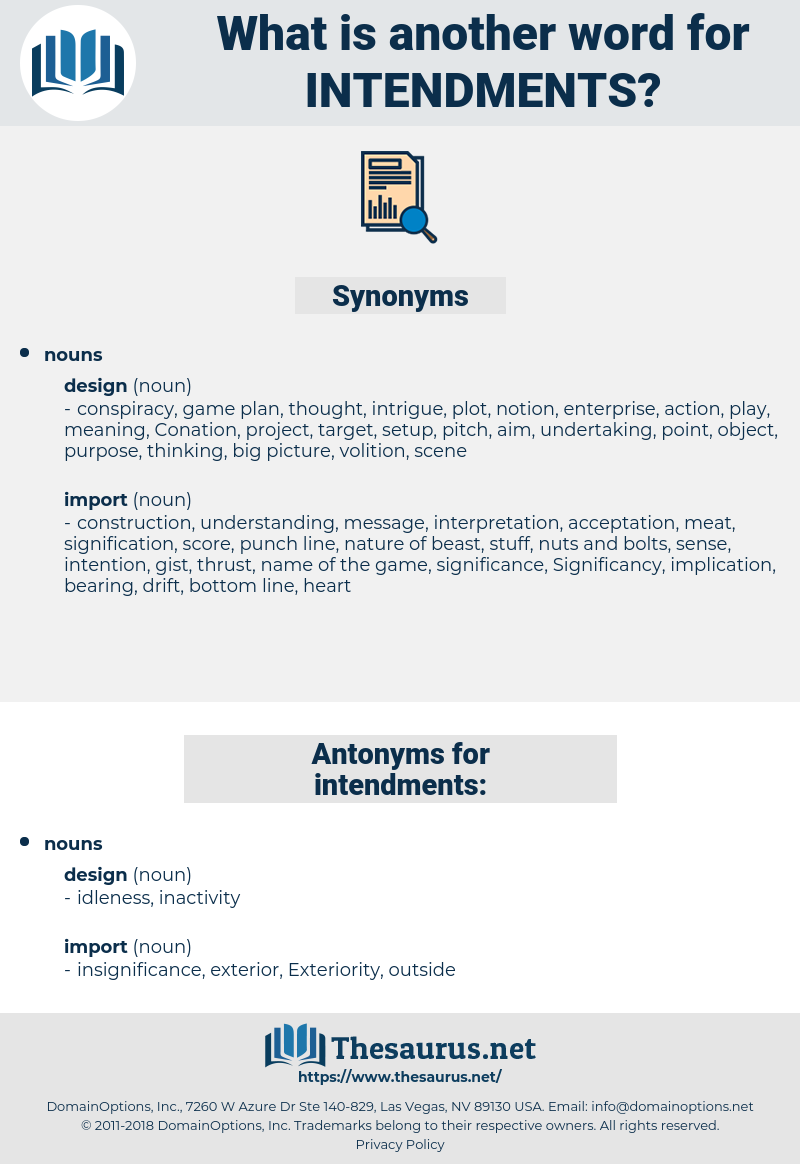 intendments, synonym intendments, another word for intendments, words like intendments, thesaurus intendments