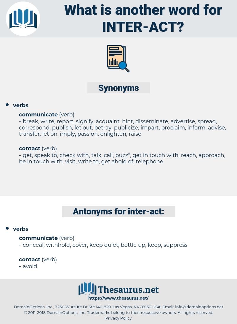 inter act, synonym inter act, another word for inter act, words like inter act, thesaurus inter act
