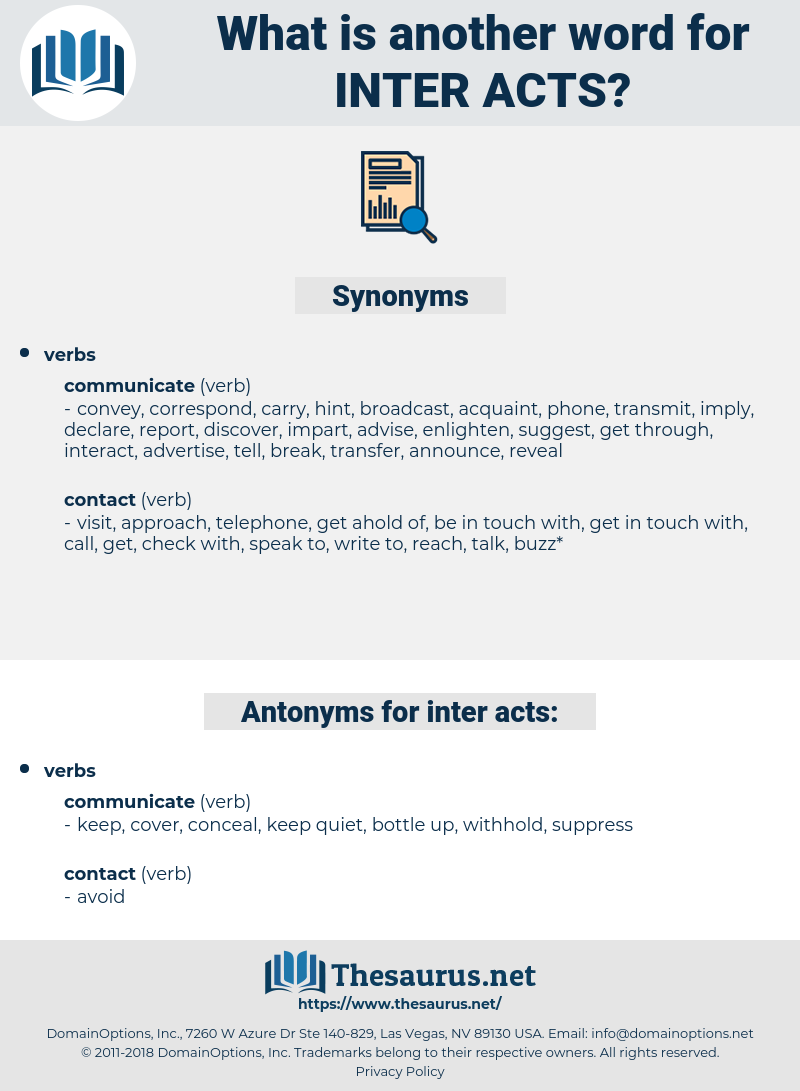 inter-acts, synonym inter-acts, another word for inter-acts, words like inter-acts, thesaurus inter-acts