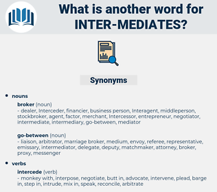 inter-mediates, synonym inter-mediates, another word for inter-mediates, words like inter-mediates, thesaurus inter-mediates