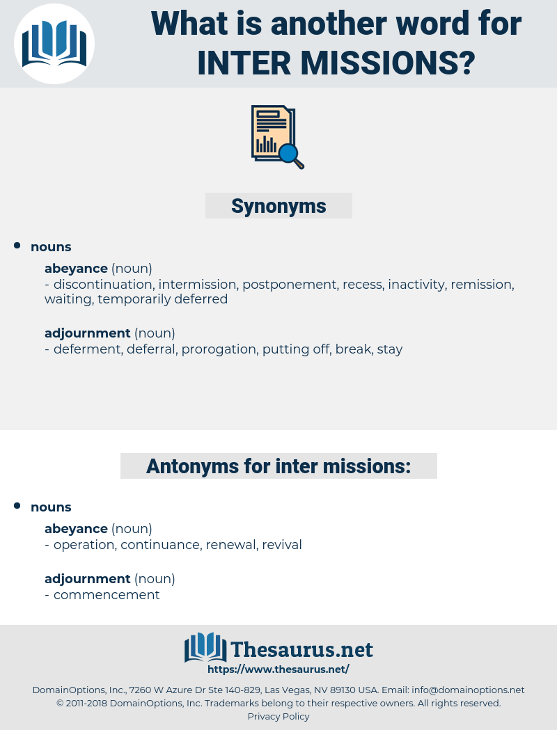 inter missions, synonym inter missions, another word for inter missions, words like inter missions, thesaurus inter missions