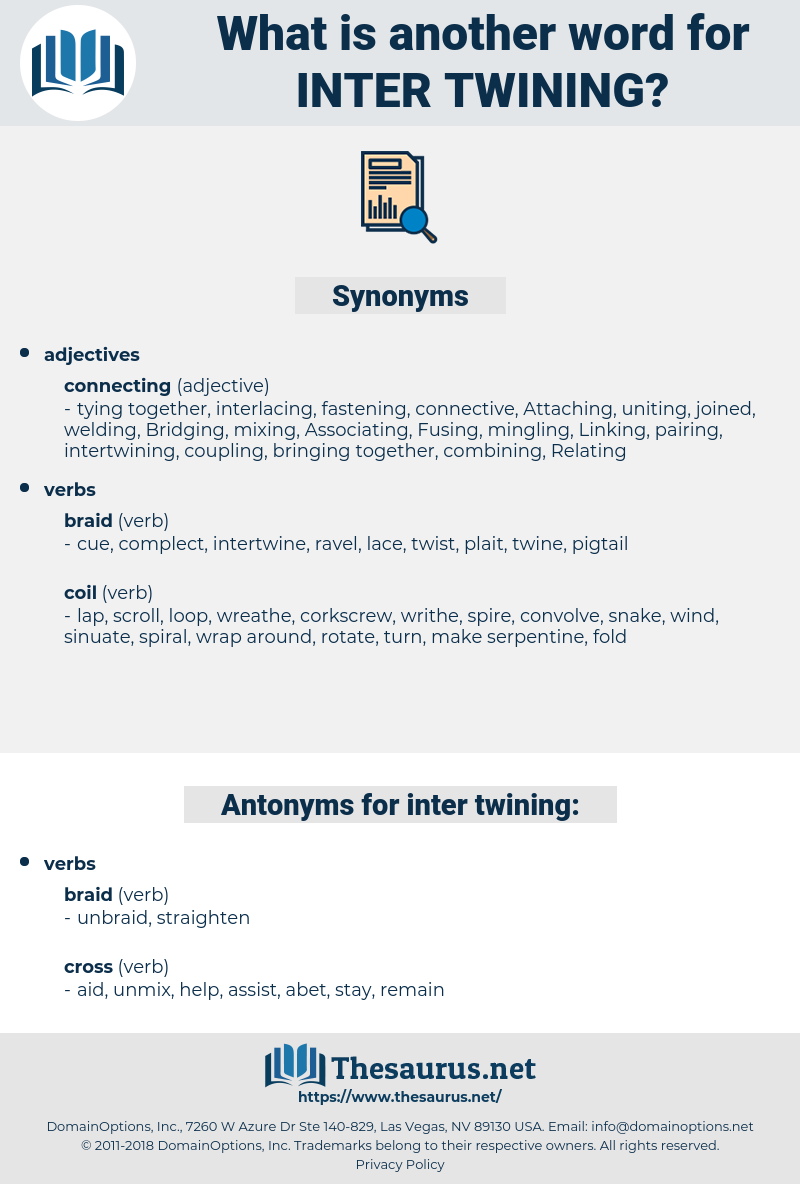 inter twining, synonym inter twining, another word for inter twining, words like inter twining, thesaurus inter twining