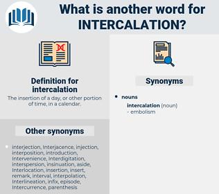 intercalation, synonym intercalation, another word for intercalation, words like intercalation, thesaurus intercalation