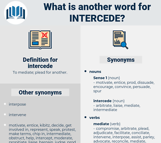 intercede, synonym intercede, another word for intercede, words like intercede, thesaurus intercede