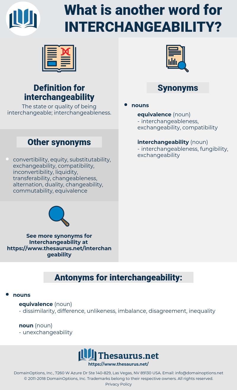interchangeability, synonym interchangeability, another word for interchangeability, words like interchangeability, thesaurus interchangeability